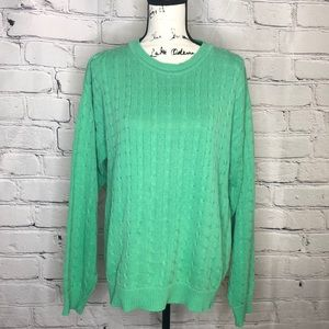 Vintage Brooks Brothers Cable Knit Sweater in Green - Size Medium